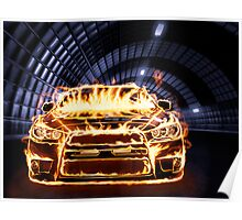 Sports Car in Flames art photo print Poster