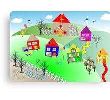 Kids Colorful Little Village Illustration Canvas Print