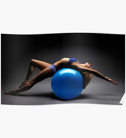 Woman on a Ball Artistic Fitness Concept art photo print Poster