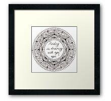 'Reading is dreaming with eyes open' mandala design. Framed Print