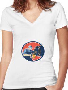 Brewer Bartender Pour Beer Pitcher Barrel Retro Women's Fitted V-Neck T-Shirt