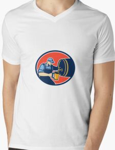 Brewer Bartender Pour Beer Pitcher Barrel Retro Mens V-Neck T-Shirt