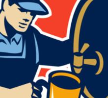 Brewer Bartender Pour Beer Pitcher Barrel Retro Sticker
