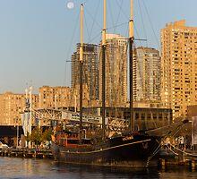 Tall Ship and Full Moon at Toronto Harbourfront by Georgia Mizuleva