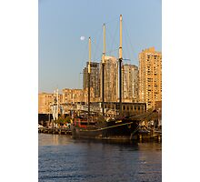 Tall Ship and Full Moon at Toronto Harbourfront Photographic Print