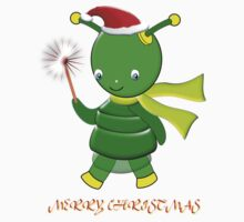 Merry Christmas Green Alien Girl T-shirt Kids Clothes