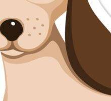 Cute little brown puppy dog with long ears Sticker
