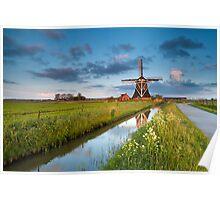Dutch farmland in morning sunlight Poster