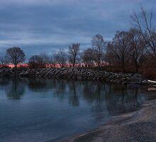 Calm, Pink Morning - Lake Ontario in Toronto by Georgia Mizuleva