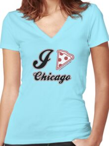 I Love Pizza Chicago Women's Fitted V-Neck T-Shirt