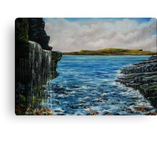 View of Kilkee from George's Head - oil painting Canvas Print
