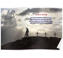 Christ  and the crucifix Poster