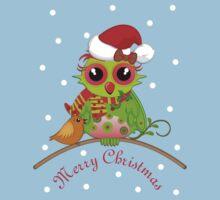 Cute Owl with Santa Hat Xmas Tee Kids Tee