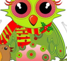 Cute Owl with Santa Hat Xmas Tee Sticker