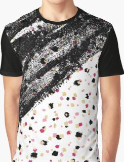 Pink, Black, & Faux Gold Paint Dots & Brushstrokes Graphic T-Shirt