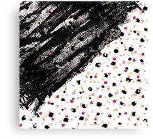 Pink, Black, & Faux Gold Paint Dots & Brushstrokes Canvas Print