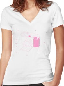 Contessa Retro Camera - Pink Women's Fitted V-Neck T-Shirt