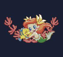 Pixel Ariel and Flounder by everlander
