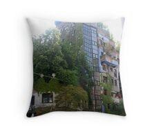 Building by Hundertwasser from the left side with the street sign, Vienna Throw Pillow
