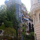 Building by Hundertwasser from the left side, Vienna by Ilan Cohen