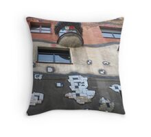 Building by Hundertwasser with a colourful balcony, Vienna Throw Pillow