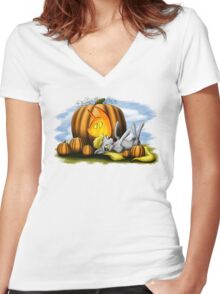 Derpy Nightmare Night Women's Fitted V-Neck T-Shirt