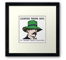 Panama Hats- Retro Advert Framed Print