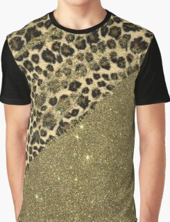 Classic Leopard Print Brushstrokes on Faux Gold Glitter Graphic T-Shirt