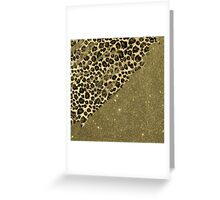Classic Leopard Print Brushstrokes on Faux Gold Glitter Greeting Card