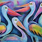 Five Pelicans chatting by Karin Zeller
