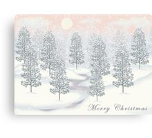 Snowy Day Winter Scene - Merry Christmas Card Canvas Print