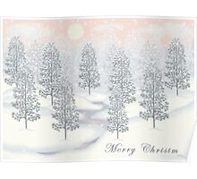 Snowy Day Winter Scene - Merry Christmas Card Poster
