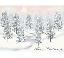 Snowy Day Winter Scene - Merry Christmas Card Photographic Print
