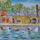 Watercolor Sketch - Quai du Port, Neuchatel, Switzerland by Igor Pozdnyakov