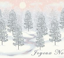 Snowy Day Winter Scene - Joyeux Noel Christmas Card by Linda Allan