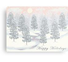 Snowy Day Winter Scene - Happy Holidays Christmas Card Metal Print
