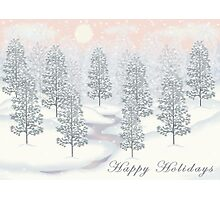 Snowy Day Winter Scene - Happy Holidays Christmas Card Photographic Print