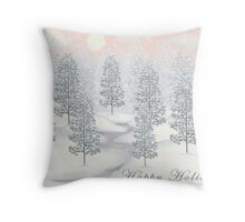 Snowy Day Winter Scene - Happy Holidays Christmas Card Throw Pillow
