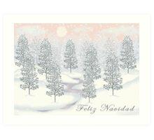 Snowy Day Winter Scene - Feliz Navidad Christmas Card Art Print