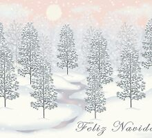 Snowy Day Winter Scene - Feliz Navidad Christmas Card by Linda Allan