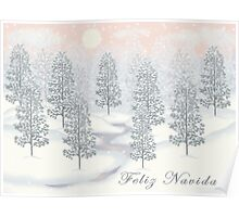 Snowy Day Winter Scene - Feliz Navidad Christmas Card Poster