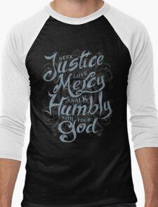 Seek Justice, Love Mercy Men's Baseball ¾ T-Shirt