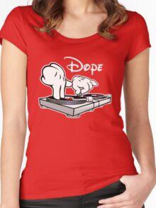 Dope! DJ Cartoon Hands Women's Fitted Scoop T-Shirt