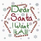 Dear Santa I Want It All T-Shirt by Linda Allan