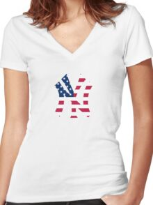 New York Yankees America  Women's Fitted V-Neck T-Shirt