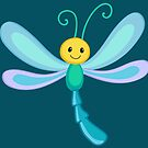 Cute cartoon children dragonfly by Sandytov