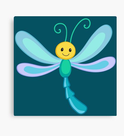 Cute cartoon children dragonfly Canvas Print