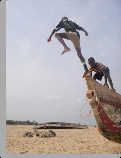 Ghana boys jumping off boat2 by TravelGrl
