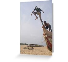 Ghana boys jumping off boat2 Greeting Card