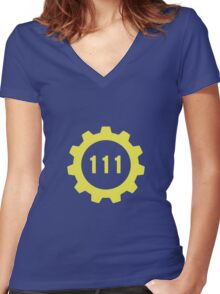 Vault 111 Women's Fitted V-Neck T-Shirt